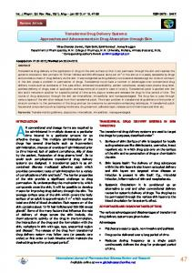 Transdermal Drug Delivery Systems: Approaches and ...