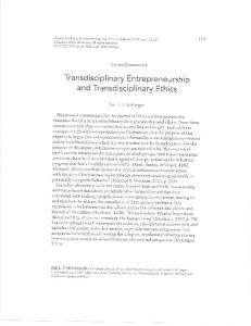 Transdisciplinary entrepreneurship and transdisciplinary ethics (2015)