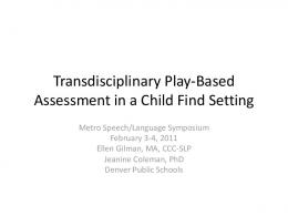 Transdisciplinary Play-Based Assessment - edoqs
