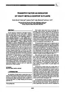 transfer factor as indicator of heavy metals content in ...