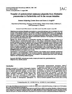 Transfer of antimicrobial resistance plasmids from Klebsiella ...