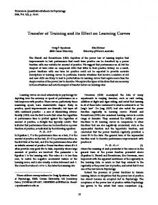 Transfer of Training and its Effect on Learning Curves
