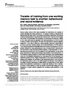 Transfer of training from one working memory task ... - Semantic Scholar