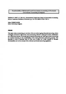 Transferability of Reformed Local Government Accounting to ...