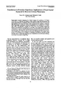 Transference in Everyday Experience: Implications of ... - CiteSeerX
