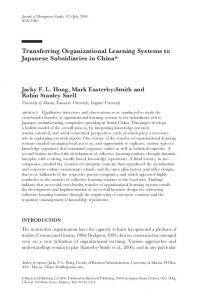 Transferring Organizational Learning Systems ... - Wiley Online Library