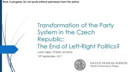 Transformation of the Party System in the Czech ...