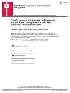 Transformational and transactional leadership and