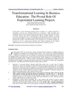 Transformational Learning In Business Education - Clute Institute