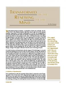 Transformed by the Renewing of the Mind - Affirmation & Critique