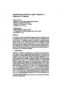 Transforming Abductive Logic Programs to ... - Semantic Scholar