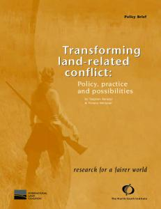 Transforming land-related conflict - Digital Library Of The Commons