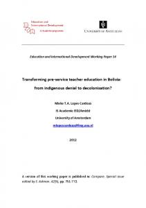 Transforming pre-service teacher education in Bolivia - Education and