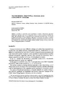 TRANSFORMING SEQUENTIAL SYSTEMS INTO CONCURRENT ...
