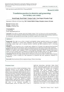 Transfusion practices in obstetrics and gynaecology in a tertiary care ...