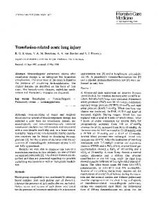 Transfusion-related acute lung injury - Springer Link