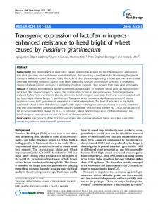 Transgenic expression of lactoferrin imparts ... - BioMedSearch