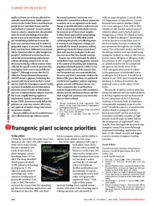 Transgenic plant science priorities - Library