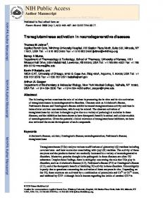 Transglutaminase activation in neurodegenerative diseases
