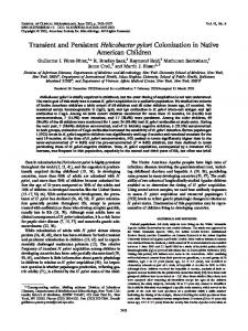 Transient and Persistent Helicobacter pylori Colonization in Native ...