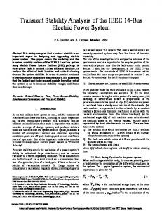 Transient Stability Analysis of the IEEE 14-Bus Electric Power System