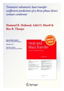 Transient volumetric heat transfer coefficient ...