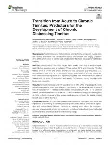 Transition from Acute to Chronic Tinnitus: Predictors for the