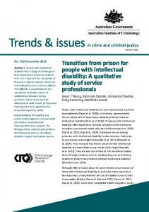 Transition from prison for people with intellectual disability - Australian ...