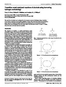Transition metal catalysed reactions of alcohols using