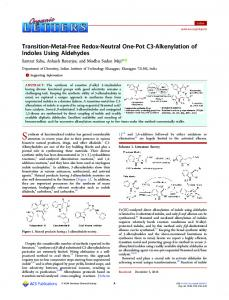 Transition-Metal-Free Redox-Neutral One-Pot C3 ... - ACS Publications