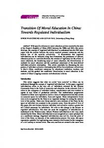 Transition Of Moral Education In China: Towards ... - CiteSeerX