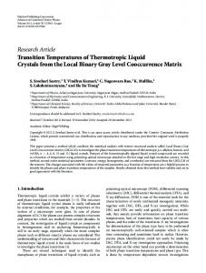 Transition Temperatures of Thermotropic Liquid Crystals from the