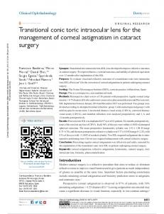 Transitional conic toric intraocular lens for the