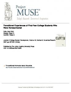 Transitional Experiences of First-Year College ...