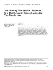 Transitioning from Health Disparities to a Health