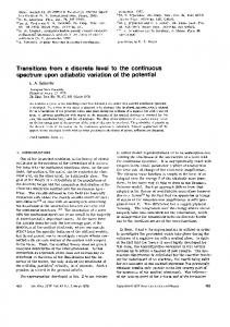 Transitions from a discrete level to the continuous spectrum ... - JETP