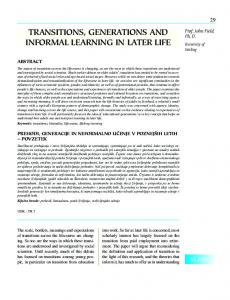 TRANSITIONS, gENERATIONS AND INfORMAL LEARNINg IN LATER ...