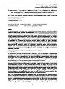 Transitions in Cooperative Labour and the ...