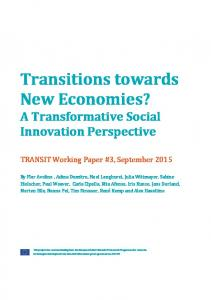 Transitions towards New Economies? - TRANSIT social innovation
