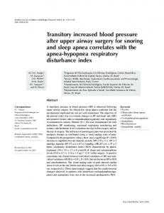 Transitory increased blood pressure after upper