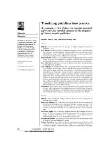 Translating guidelines into practice