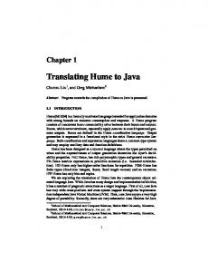 Translating Hume to Java - Mathematical and Computer Sciences