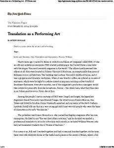Translation as a Performing Art - NYTimes.com