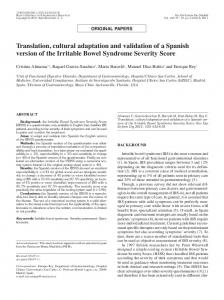 Translation, cultural adaptation and validation of a Spanish version of