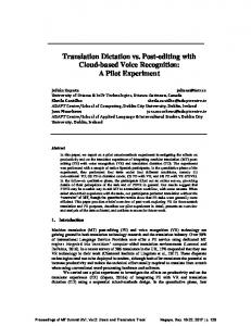 Translation Dictation vs. Post-editing with Cloud-based Voice ...