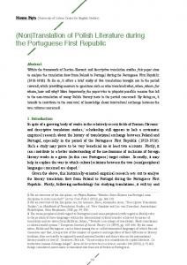Translation of Polish Literature during the Portuguese First Republic