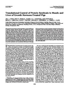 Translational Control of Protein Synthesis in Muscle and Liver of ...