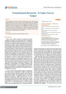 Translational Research – It Takes Two to Tango! - MedCrave