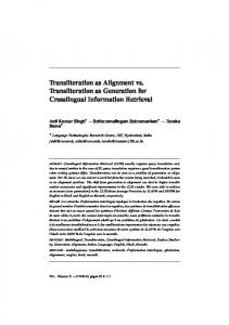 Transliteration as Alignment vs. Transliteration as ... - Semantic Scholar