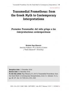 Transmedial Prometheus: from the Greek Myth to Contemporary ...